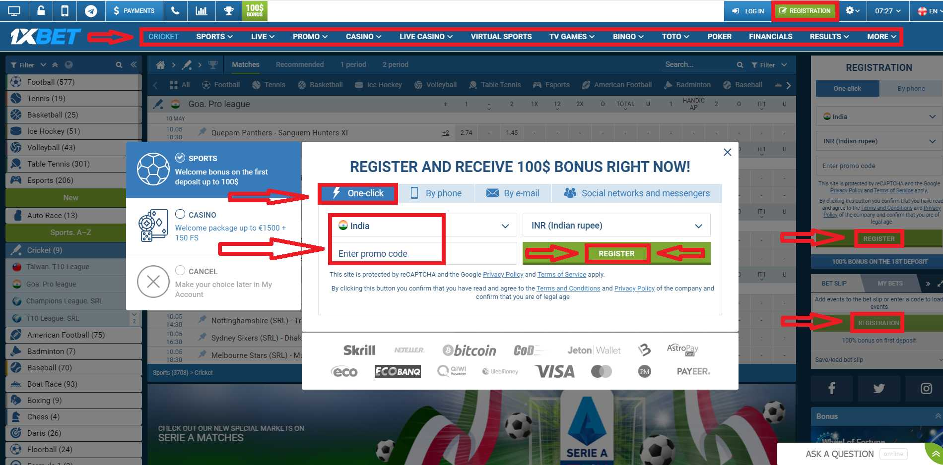 Find Out How to Register on 1xBet via SMS
